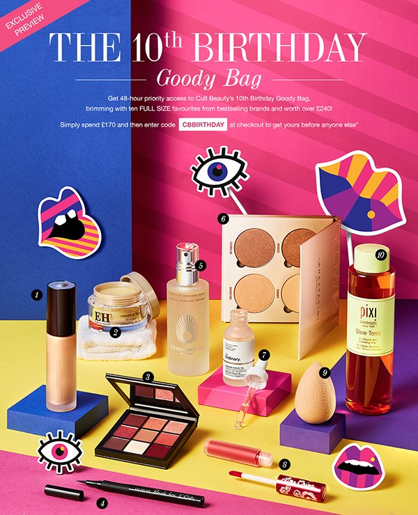 Cult Beauty The 10th Birthday Goody Bag