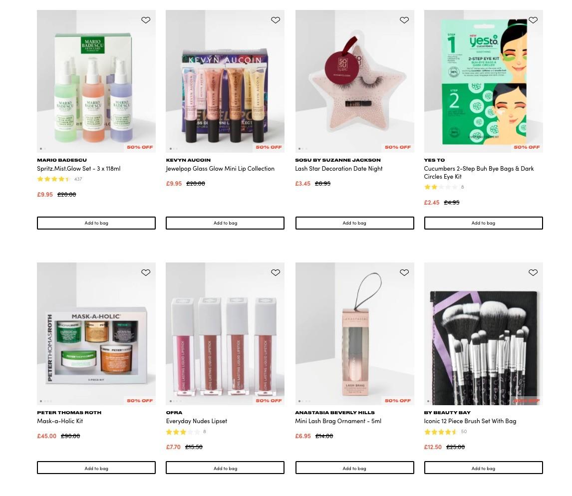 скидки до 50% на наборы на BeautyBay
