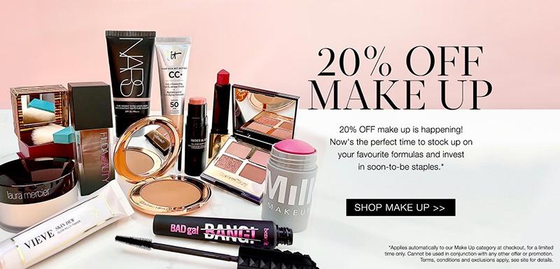 скидка 20% на декоративную косметику на Cult Beauty
