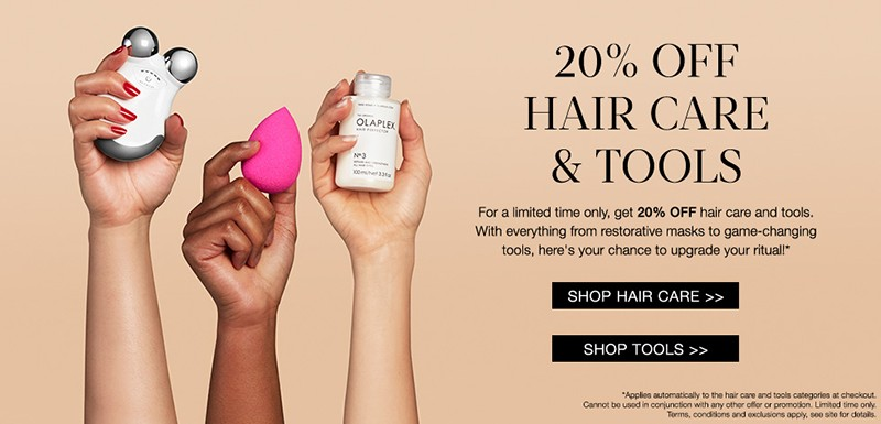 Скидка 20% на средства для волос и девайсы на Cult Beauty