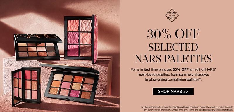 скидка 30% на палетки Nars на Cult Beauty